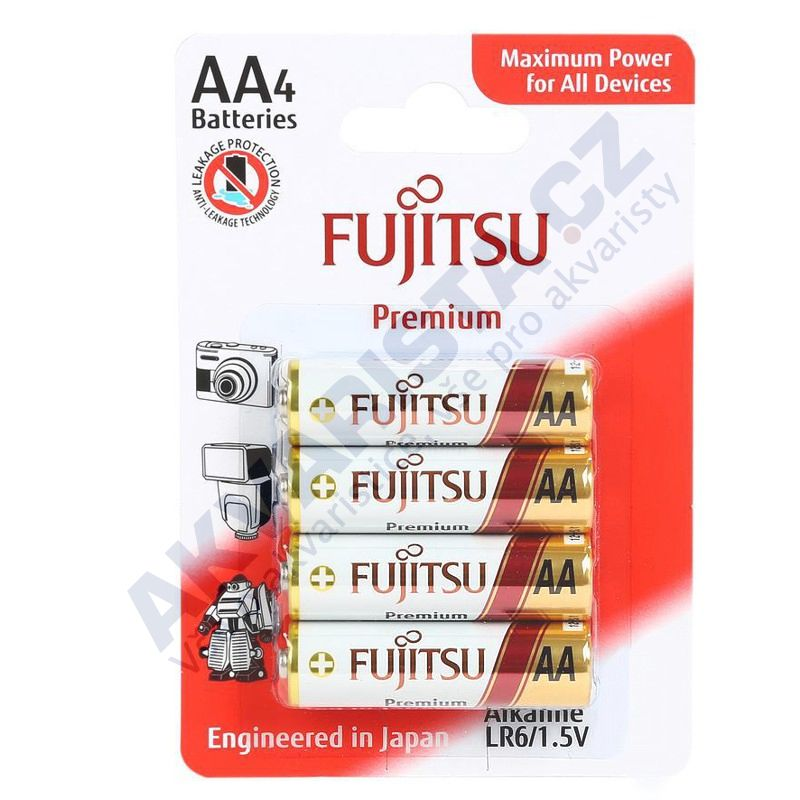 Fujitsu Premium Power alkalická baterie LR06/AA, blistr 4ks